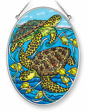 "Sea Turtles Sun Catcher AMIA Hand Painted Glass 7"" x 5"" Oval Looking Around New"