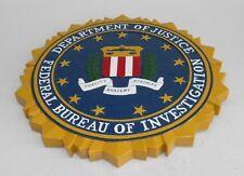 FBI Department Justice Kiln Dry Wood Seal Emblem Podium Plaque