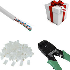 WHITE CAT5E 1000FT CAT5 CABLE UTP WIRE WITH CRIMPER TOOL SET SOLID ETHERNET RJ45