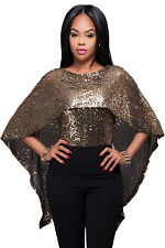 New Ladies Black Gold Sequins Cape Top size UK 8-10