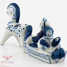Gzhel porcelain Figurine Russian Peasants on Sleigh w horse children and mother