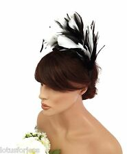 20's Flapper Style Fab Feather Fascinator Headband Monochrome Black and White