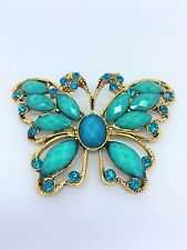 LARGE GREEN BUTTERFLY DIAMANTE CLEAR SILVER TONE CRYSTAL ALLOY RESIN BROOCH