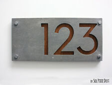 Modern House Numbers, Concrete & Wood - Sign Plaque - Door Number