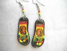 COLOR BOB MARLEY WITH BEANIE CAP RASTA COLOR FLIP FLOP BEACH SANDALS EARRINGS