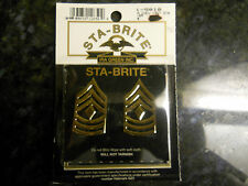 2 US MILITARY COLLAR INSIGNIA 1ST SERGEANT RANK STA-BRIGHT ARMY BRASS GOLD