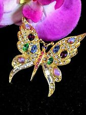 RARE MARY BETH BURCHARDT FOR PELL 24K GP FIRE OPAL RHINESTONE BUTTERFLY BROOCH