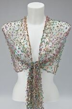 LILAC GREEN BLUE GOLD NET SCARF SHAWL cobweb lace wedding fair trade handmade