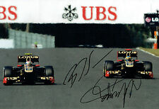 Vitaly PETROV & Bruno SENNA Double SIGNED 12x8 F1 Photo AFTAL Autograph COA