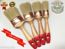 #RB4 - SET OF 4 - pure bristle CHALK bsd PAINT & WAX shabby 4 OVAL PAINTBRUSHES