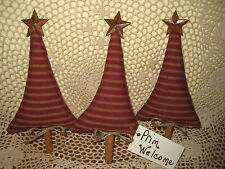 3 HANDMADE PRIMITIVE CHRISTMAS RED TICKING FABRIC TREE ORNIES BOWL FILLERS DECOR
