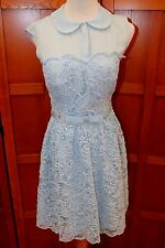Ted Baker Lace Cap Sleeve Blue Belted Full Skirt Dress TB Size 1 US XS S 2 4