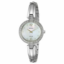 Seiko SUP287 Women's Solar Steel Bangle Bracelet Crystal Watch