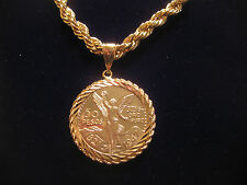 "CENTENARIO COIN with ROPE HOLDER PENDANT & 30"" ROPE CHAIN 5mm THICK GOLD PLATED"