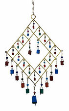 """""""SALE"""" Gold Metal Wind Chime Coloured Cow Bells/Glass Beads, Feng Shui, Hippy-Lg"""