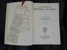 1928 A Synopsis of Regional Anatomy by T B Johnson + 11 Illustratiions
