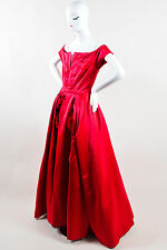 Akira Red Pink Silk Satin Tulle Rose Pin Applique Long Evening Gown