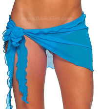 SEXY EXTRA SHORT SKIMPY SHEER SEE THRU BLUE MESH SARONG BIKINI COVER-UP! NEW