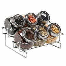 6 Jar Metal and Glass Food Spice Kitchen Storage Container Rack - MyGift NEW....