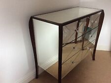 LAURA ASHLEY CHARLSTON CHEST OF 3 DRAWERS WOOD WITH MIRRORED GLASS SURFACE