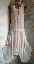 together White Pink bead vintage 20s deco gatsby lace wedding bride dress 18 20