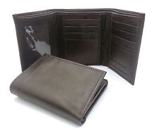 Trifold Genuine Leather Brown Plain Compact Wallet  With Zipper Currency Pocket