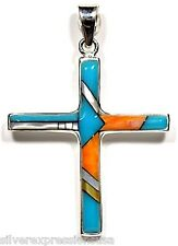 Handcrafted 925 Sterling Silver Cross Pendant with Multicolor & Turquoise Inlay