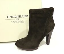 TSUBO TIMO WEILAND TW007 DARK BROWN HIGH HEEL ANKLE BOOTS WOMEN'S US SIZE 7 -NIB