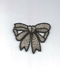 BLACK AND SILVER BEADED BOW APPLIQUE 2569-C