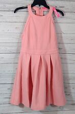 Women's Coral Skater Dress Pleated Sleeveless T-Back Lined Size-Large    (b36)