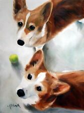 Mary Sparrow  Pembroke welsh corgi mini PRINT dog  puppies tennis ball