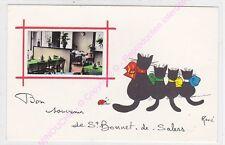 CPSM 15140 SAINT BONNET DE SALERS Bon souvenir  Illustrateur RENE LE CHAT