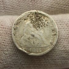 1875 SEATED LIBERTY SILVER DIME #X444 holed historical investment 10 cent