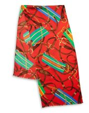 NWT RALPH LAUREN Tania Equestrian 100% Silk Oblong Scarf Red MSRP: $45