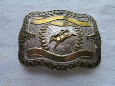 Vintage Crumrine Large Heavy Silver Plated Jewelers Bronze Bronco Belt Buckle