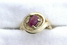 14Kt REAL Yellow Gold Oval 7x5 Ruby Cabochon Cab Gemstone Gem Stone Ladies Ring