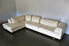 Superb Huge Roche Bobois L-Shape Sectional Sofa in Ivory Leather