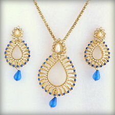 Bollywood Ethnic Gold Plated Pearls Blue Pendant Earrings Jewelry Necklace Set