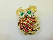 "OWL GOLD PLATED PENDANT 2"" L x 1.5"" W WITH RED & GREEN COLORED GLASS STONES"