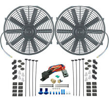 """DUAL 14"""" INCH ELECTRIC RADIATOR SLIM COOLING FANS 3/8"""" PROBE THERMOSTAT FAN KIT"""