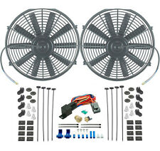 "DUAL 14"" INCH ELECTRIC RADIATOR SLIM COOLING FANS 3/8"" PROBE THERMOSTAT FAN KIT"