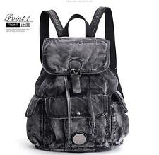 womens punk rock washed denim Backpack Rucksack travel Shoulder messenger Bag