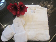 2 FRETTE XL Pique Cotton Ivory Kimono Robes w/Belt & Slippers! His and Hers Set!