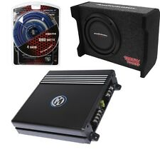 "10"" TRUCK SHALLOW MOUNT SUBWOOFER BOX + 2 CHANNEL 300W CAR AMPLIFIER +4GA AMPKIT"