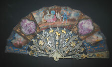 AMAZING ANTIQUE FRENCH 18TH GOLD INLAY FILIGREE CARVED HAND PAINTED SCENE FAN