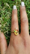 Peacock Gold Coloured Asian Small Ring Red and Green Jewellery Womens