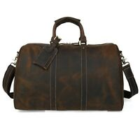 Men's Women Leather Travel Bag Luggage Carry On Gym Duffle Shoulder Bag Brown
