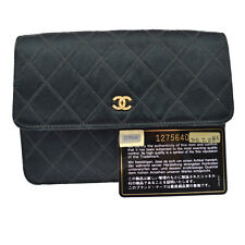 Authentic CHANEL CC Quilted Clutch Wallet Bag Purse Black Satin Vintage V12077