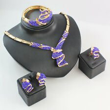 African 18k Gold Plated Jewelry Sets Crystal Necklace Wedding Party Set 3 Colors