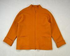 EILEEN FISHER Soft Orange Wool Felt Lightweight Zip Up Cuff Sleeve Jacket Top M